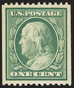 Sale Number 1162, Lot Number 457, 1908-10 Washington-Franklin Issues (Scott 331-356)1c Green, Coil (348), 1c Green, Coil (348)