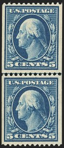 Sale Number 1162, Lot Number 459, 1908-10 Washington-Franklin Issues (Scott 331-356)5c Blue, Coil (351), 5c Blue, Coil (351)