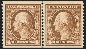 Sale Number 1162, Lot Number 460, 1908-10 Washington-Franklin Issues (Scott 331-356)4c Orange Brown, Coil (354), 4c Orange Brown, Coil (354)