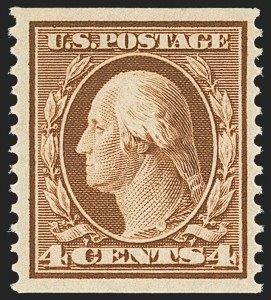 Sale Number 1162, Lot Number 462, 1908-10 Washington-Franklin Issues (Scott 331-356)4c Orange Brown, Coil (354), 4c Orange Brown, Coil (354)