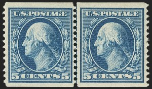 Sale Number 1162, Lot Number 463, 1908-10 Washington-Franklin Issues (Scott 331-356)5c Blue, Coil (355), 5c Blue, Coil (355)