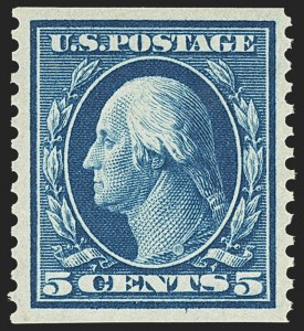 Sale Number 1162, Lot Number 464, 1908-10 Washington-Franklin Issues (Scott 331-356)5c Blue, Coil (355), 5c Blue, Coil (355)