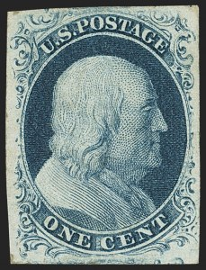 Sale Number 1162, Lot Number 48, 1851-56 Issue (Scott 5-17)1c Blue, Ty. II (7), 1c Blue, Ty. II (7)