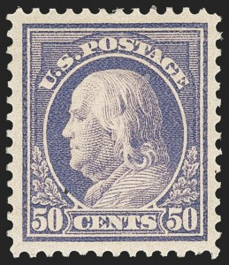 Sale Number 1162, Lot Number 497, 1912-15 Washington-Franklin Issues (Scott 405-461)50c Violet (422), 50c Violet (422)