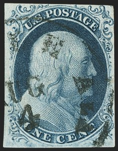 Sale Number 1162, Lot Number 50, 1851-56 Issue (Scott 5-17)1c Blue, Ty. II (7), 1c Blue, Ty. II (7)