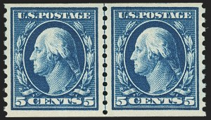 Sale Number 1162, Lot Number 507, 1912-15 Washington-Franklin Issues (Scott 405-461)5c Blue, Coil (447), 5c Blue, Coil (447)
