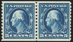 Sale Number 1162, Lot Number 508, 1912-15 Washington-Franklin Issues (Scott 405-461)5c Blue, Coil (447), 5c Blue, Coil (447)