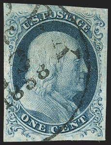 Sale Number 1162, Lot Number 51, 1851-56 Issue (Scott 5-17)1c Blue, Ty. III (8), 1c Blue, Ty. III (8)