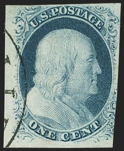 Sale Number 1162, Lot Number 52, 1851-56 Issue (Scott 5-17)1c Blue, Ty. III, Position 99R2 (8), 1c Blue, Ty. III, Position 99R2 (8)