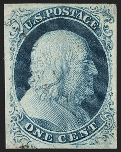 Sale Number 1162, Lot Number 53, 1851-56 Issue (Scott 5-17)1c Blue, Ty. III (8), 1c Blue, Ty. III (8)