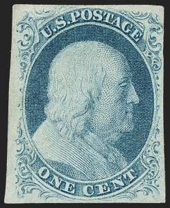Sale Number 1162, Lot Number 54, 1851-56 Issue (Scott 5-17)1c Blue, Ty. IIIa (8A), 1c Blue, Ty. IIIa (8A)