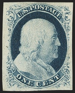 Sale Number 1162, Lot Number 55, 1851-56 Issue (Scott 5-17)1c Blue, Ty. IV (9), 1c Blue, Ty. IV (9)
