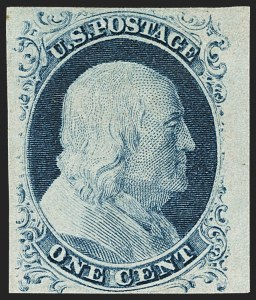 Sale Number 1162, Lot Number 56, 1851-56 Issue (Scott 5-17)1c Blue, Ty. IV (9), 1c Blue, Ty. IV (9)