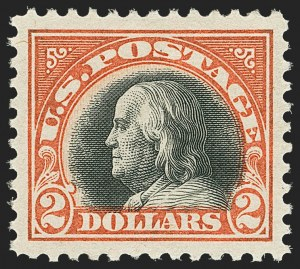 Sale Number 1162, Lot Number 560, 1917-19 Issues (Scott 481-524)$2.00 Orange Red & Black (523), $2.00 Orange Red & Black (523)