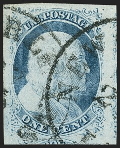 Sale Number 1162, Lot Number 57, 1851-56 Issue (Scott 5-17)1c Blue, Ty. IV (9), 1c Blue, Ty. IV (9)