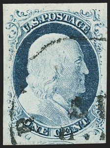 Sale Number 1162, Lot Number 58, 1851-56 Issue (Scott 5-17)1c Blue, Ty. IV (9), 1c Blue, Ty. IV (9)