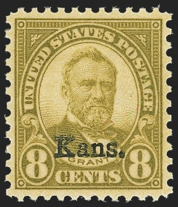 Sale Number 1162, Lot Number 598, 1922 and Later Issues (Scott 554-703b8c Kans. Ovpt. (666), 8c Kans. Ovpt. (666)