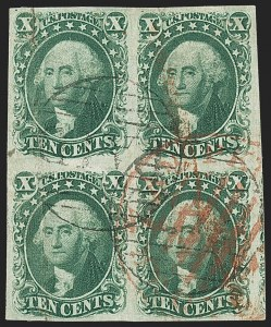 Sale Number 1162, Lot Number 71, 1851-56 Issue (Scott 5-17)10c Green, Ty. II-II/III-III (14-14/15-15), 10c Green, Ty. II-II/III-III (14-14/15-15)
