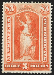 Sale Number 1162, Lot Number 727, Newspapers and Periodicals (PR)$3.00 Vermilion, 1875 Issue (PR25), $3.00 Vermilion, 1875 Issue (PR25)