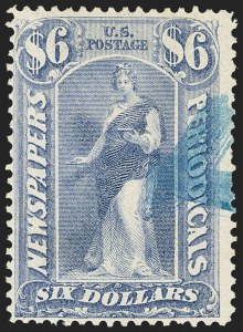 Sale Number 1162, Lot Number 728, Newspapers and Periodicals (PR)$6.00 Ultramarine, 1875 Issue (PR26), $6.00 Ultramarine, 1875 Issue (PR26)