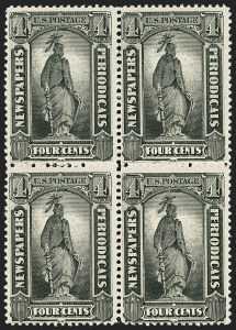 Sale Number 1162, Lot Number 746, Newspapers and Periodicals (PR)4c Intense Black, 1894 Issue (PR92), 4c Intense Black, 1894 Issue (PR92)