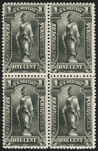Sale Number 1162, Lot Number 747, Newspapers and Periodicals (PR)1c Black, 1895 Unwatermarked Issue (PR102), 1c Black, 1895 Unwatermarked Issue (PR102)
