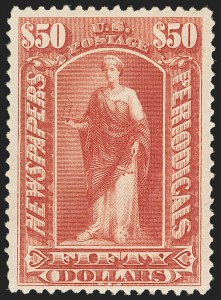 Sale Number 1162, Lot Number 753, Newspapers and Periodicals (PR)$50.00 Dull Rose, 1895 Unwatermarked Issue (PR112), $50.00 Dull Rose, 1895 Unwatermarked Issue (PR112)