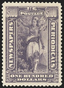 Sale Number 1162, Lot Number 754, Newspapers and Periodicals (PR)$100.00 Purple, 1895 Watermarked Issue (PR125), $100.00 Purple, 1895 Watermarked Issue (PR125)