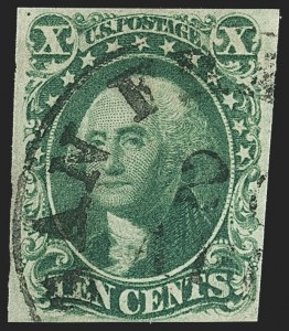 Sale Number 1162, Lot Number 77, 1851-56 Issue (Scott 5-17)10c Green, Ty. IV (16), 10c Green, Ty. IV (16)