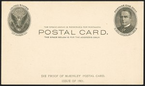 Sale Number 1162, Lot Number 777, Postal Stationery (U, UX)1c Black on Buff, Full-Face McKinley 1902 Postal Card, Die Proof (UX17P), 1c Black on Buff, Full-Face McKinley 1902 Postal Card, Die Proof (UX17P)