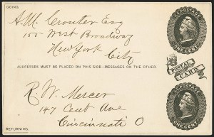 Sale Number 1162, Lot Number 780, Postal Stationery (U, UX)1c + 1c on Wove, Robert W. Mercer, Cincinnati O., Paid Reply Card Essay (UY1E-TA), 1c + 1c on Wove, Robert W. Mercer, Cincinnati O., Paid Reply Card Essay (UY1E-TA)