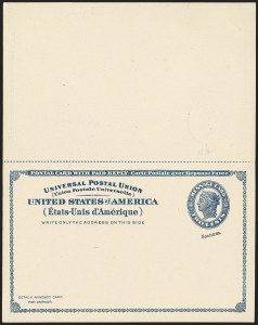 Sale Number 1162, Lot Number 781, Postal Stationery (U, UX)1c +1c Blue on Grayish White, 1893 Paid Reply Postal Card, Production Specimens (UY2PSa), 1c +1c Blue on Grayish White, 1893 Paid Reply Postal Card, Production Specimens (UY2PSa)