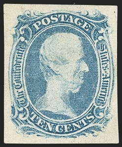 "Sale Number 1162, Lot Number 834, Confederate States10c Blue, ""TEN"" (9), 10c Blue, ""TEN"" (9)"