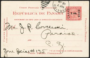 Sale Number 1162, Lot Number 864, U.S. Possessions - Canal Zone Postal Cards and Postal Stationery1907, 1c on 2c Carmine, Postal Card, Double Surcharge (UX1a; UPSS S1a), 1907, 1c on 2c Carmine, Postal Card, Double Surcharge (UX1a; UPSS S1a)