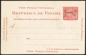 "Sale Number 1162, Lot Number 865, U.S. Possessions - Canal Zone Postal Cards and Postal Stationery1907, 1c on 2c Carmine, Postal Card, ""Canal"" 13mm, Double Surcharge (UX1e; UPSS S2a), 1907, 1c on 2c Carmine, Postal Card, ""Canal"" 13mm, Double Surcharge (UX1e; UPSS S2a)"