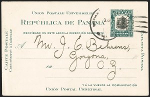 Sale Number 1162, Lot Number 867, U.S. Possessions - Canal Zone Postal Cards and Postal Stationery1908, 1c Green & Black, Postal Card, Ty. 1, Double Ovpt. (UX2a; UPSS S3a), 1908, 1c Green & Black, Postal Card, Ty. 1, Double Ovpt. (UX2a; UPSS S3a)