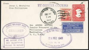 Sale Number 1162, Lot Number 889, U.S. Possessions - Cuba thru Group LotsPHILIPPINES, 1943, 2c Blue, Free Philippines Guerrilla Postal Service (Unlisted), PHILIPPINES, 1943, 2c Blue, Free Philippines Guerrilla Postal Service (Unlisted)