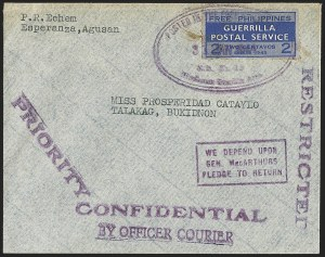 Sale Number 1162, Lot Number 890, U.S. Possessions - Cuba thru Group LotsPHILIPPINES, 1943, 2c Blue, Free Philippines Guerrilla Postal Service (Unlisted), PHILIPPINES, 1943, 2c Blue, Free Philippines Guerrilla Postal Service (Unlisted)