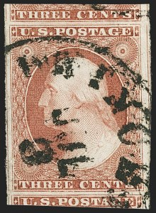 Sale Number 1163, Lot Number 12, 1851-56 Issue (Scott 7-17)3c Claret, Ty. II (11A), 3c Claret, Ty. II (11A)