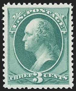 Sale Number 1163, Lot Number 123, 1873-75 Continental Bank Note Co. Issue (Scott 156-166, 178-179)3c Green (158). Mint N.H, 3c Green (158). Mint N.H