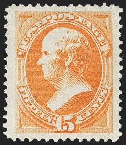 Sale Number 1163, Lot Number 128, 1873-75 Continental Bank Note Co. Issue (Scott 156-166, 178-179)15c Yellow Orange (163), 15c Yellow Orange (163)