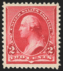"Sale Number 1163, Lot Number 159, 1890-93 Issue (Scott 219-229)2c Carmine, Cap on Left ""2"" (220a), 2c Carmine, Cap on Left ""2"" (220a)"