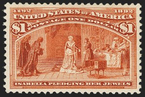 Sale Number 1163, Lot Number 176, 1893 Columbian Issue (Scott 230-245)$1.00 Columbian (241), $1.00 Columbian (241)