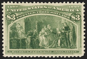 Sale Number 1163, Lot Number 178, 1893 Columbian Issue (Scott 230-245)$3.00 Olive Green, Columbian (243a), $3.00 Olive Green, Columbian (243a)