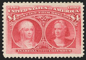 Sale Number 1163, Lot Number 179, 1893 Columbian Issue (Scott 230-245)$4.00 Columbian (244), $4.00 Columbian (244)