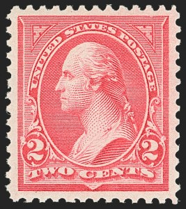 Sale Number 1163, Lot Number 201, 1895 Watermarked Bureau Issue (Scott 264-278)2c Carmine, Ty. II (266), 2c Carmine, Ty. II (266)