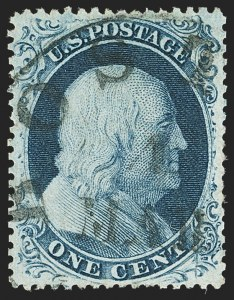 Sale Number 1163, Lot Number 22, 1857-60 Issue (Scott 19-39)1c Blue, Ty. III (21), 1c Blue, Ty. III (21)