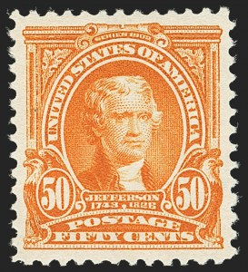 Sale Number 1163, Lot Number 238, 1902-08 Issues (Scott 300-320)50c Orange (310), 50c Orange (310)