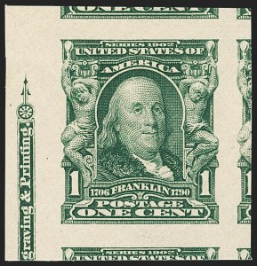 Sale Number 1163, Lot Number 242, 1902-08 Issues (Scott 300-320)1c Blue Green, Imperforate (314), 1c Blue Green, Imperforate (314)