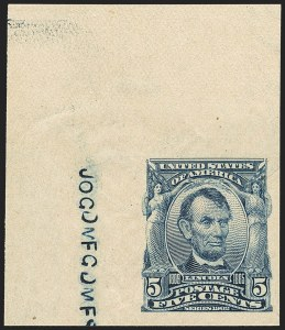 Sale Number 1163, Lot Number 243, 1902-08 Issues (Scott 300-320)5c Blue, Imperforate (315), 5c Blue, Imperforate (315)